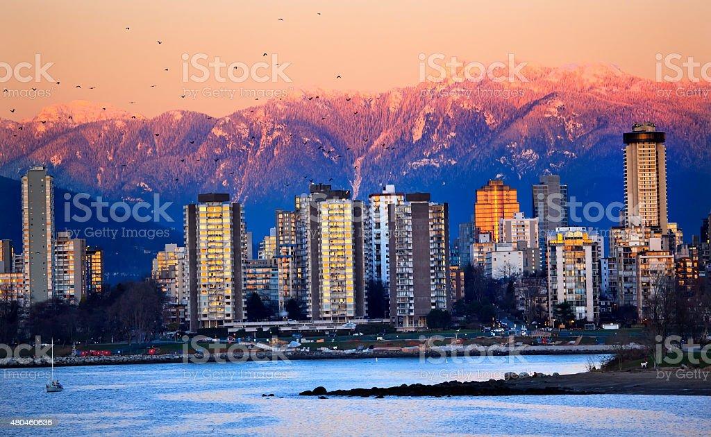 Vancouver Skyline Harbor English Bay Snow Mountains Sunset stock photo