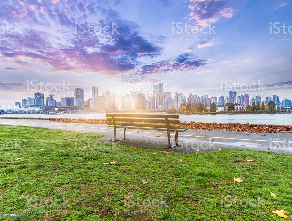 Vancouver skyline in sunrise stock photo