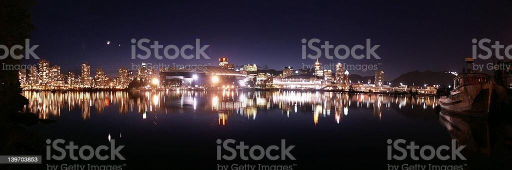 Vancouver Skyline Night Panorama royalty-free stock photo