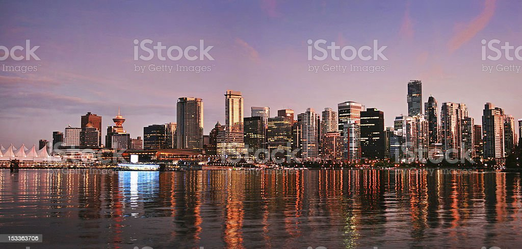 Vancouver skyline panorama at sunset stock photo