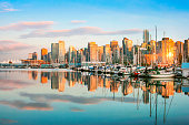 Vancouver skyline with Stanley Park at sunset, BC, Canada
