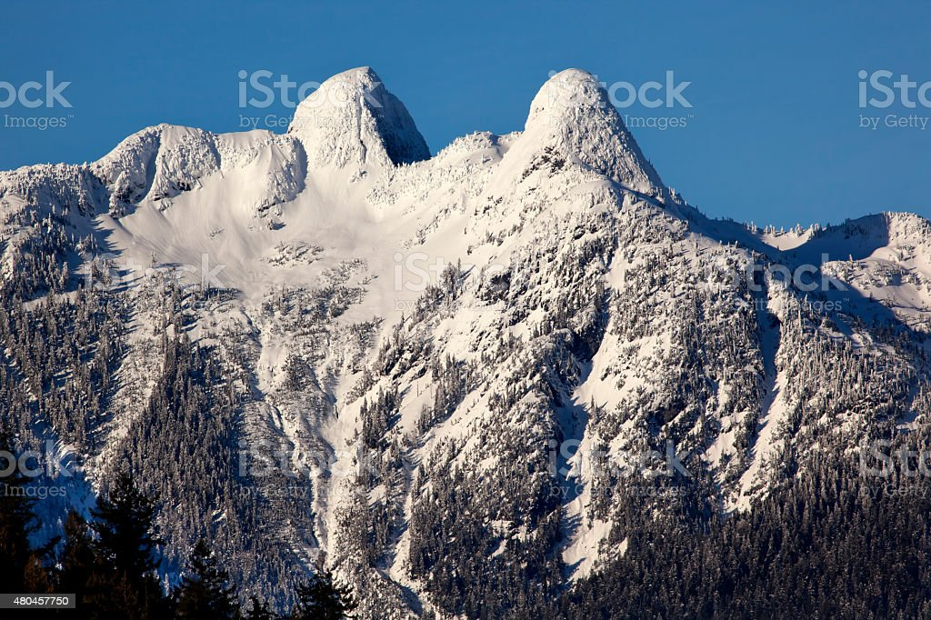 Vancouver Snowy Two Lions Mountains British Columbia stock photo