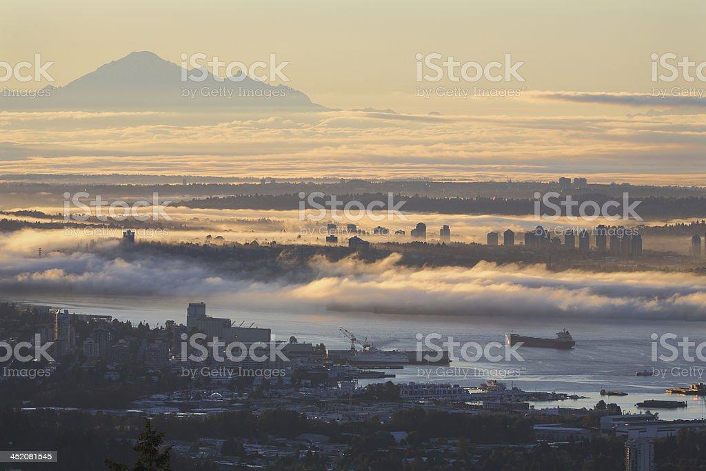Vancouver Sunrise Fog stock photo