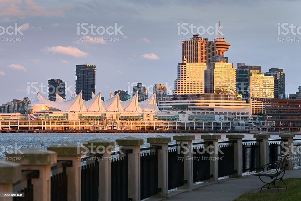 Vancouver Sunset Reflection stock photo