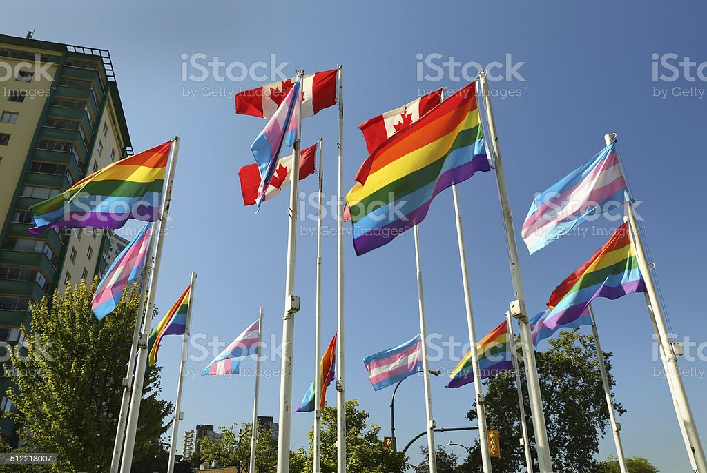Vancouver Transgender and Pride Flags stock photo
