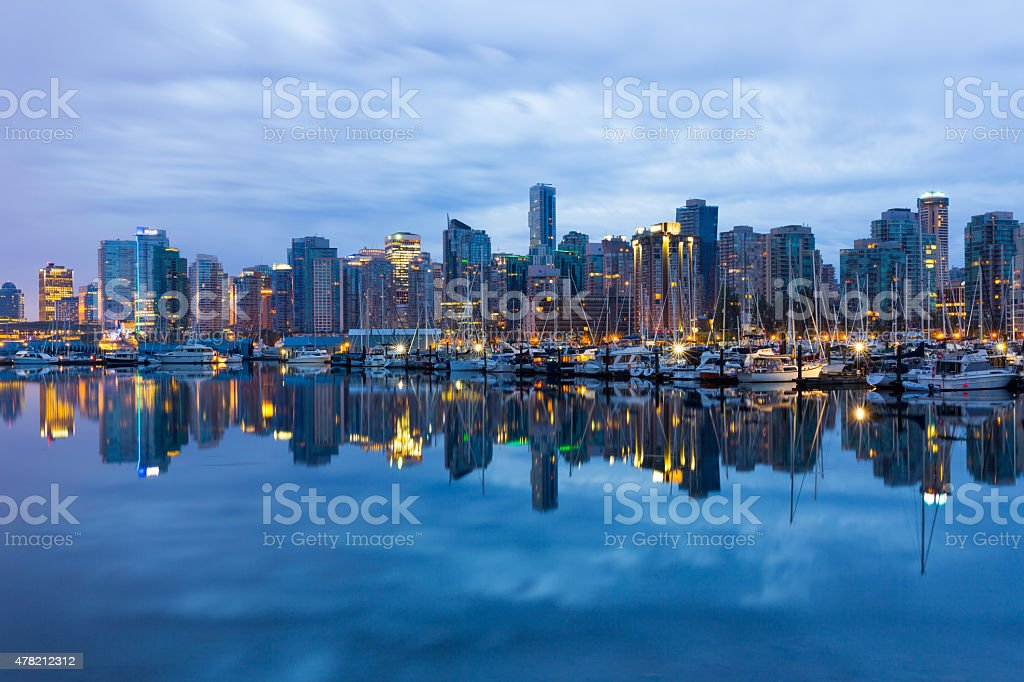 Vancouver waterfront reflection stock photo
