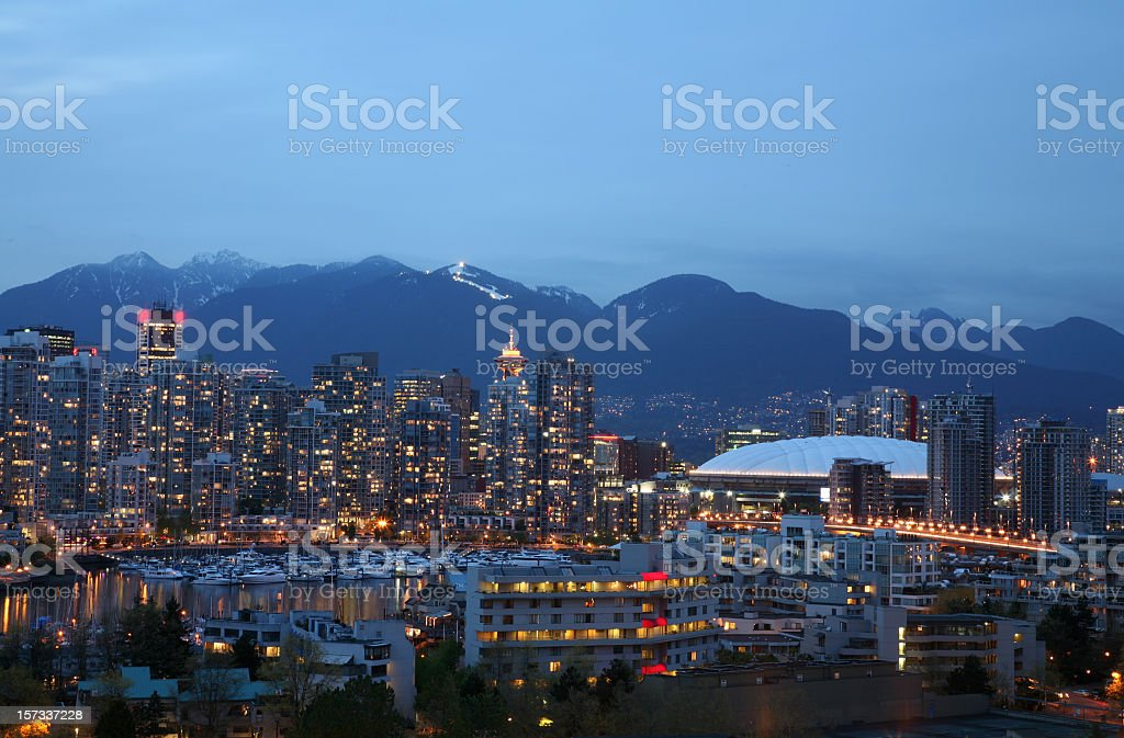 Vancouver Yaletown With Grouse Mountain stock photo