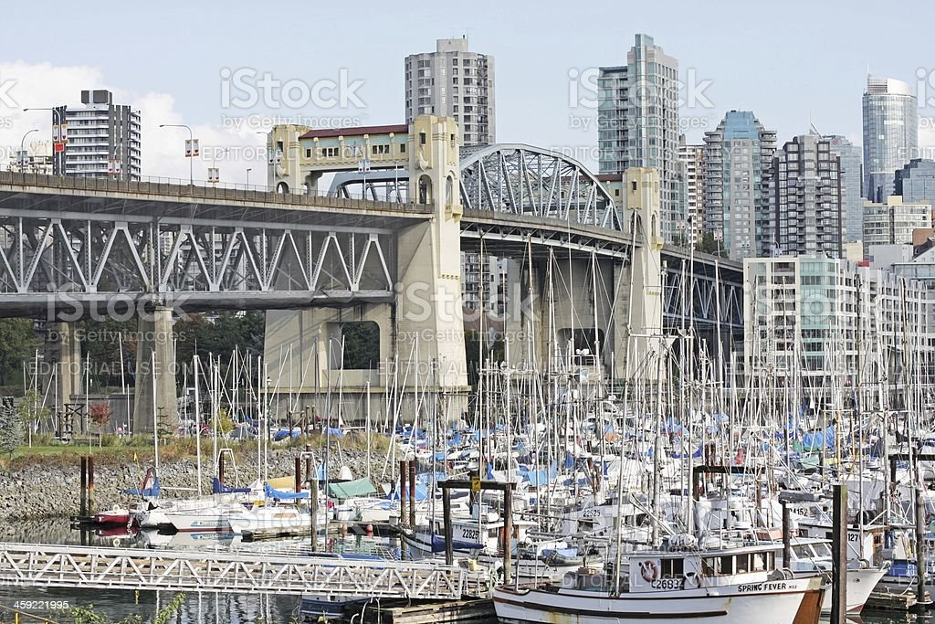 Vancouver's Burrard Bridge and West End Neighbourhood, Canada's West Coast royalty-free stock photo