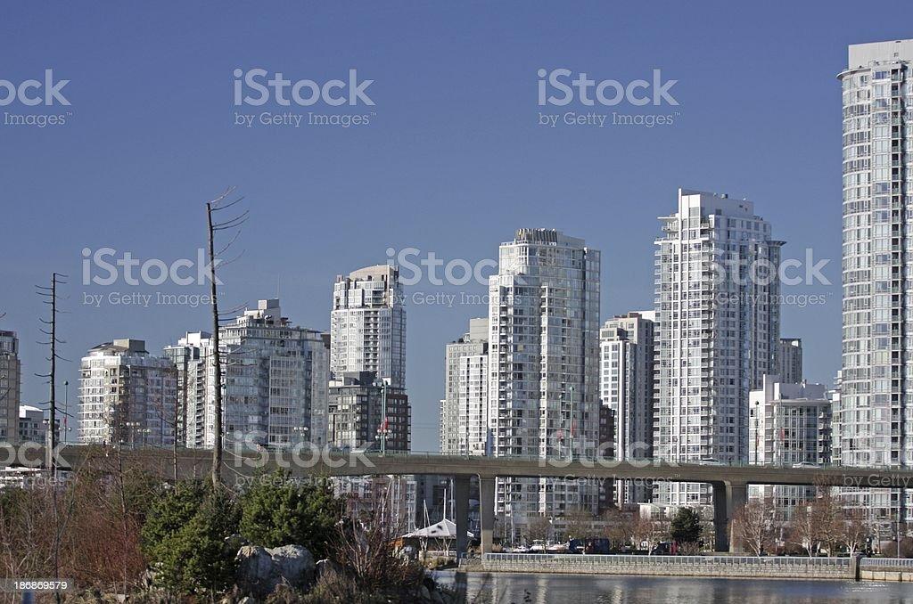 Vancouver's Cambie Bridge and Yaletown Neighbourhood, British Columbia, Canada royalty-free stock photo