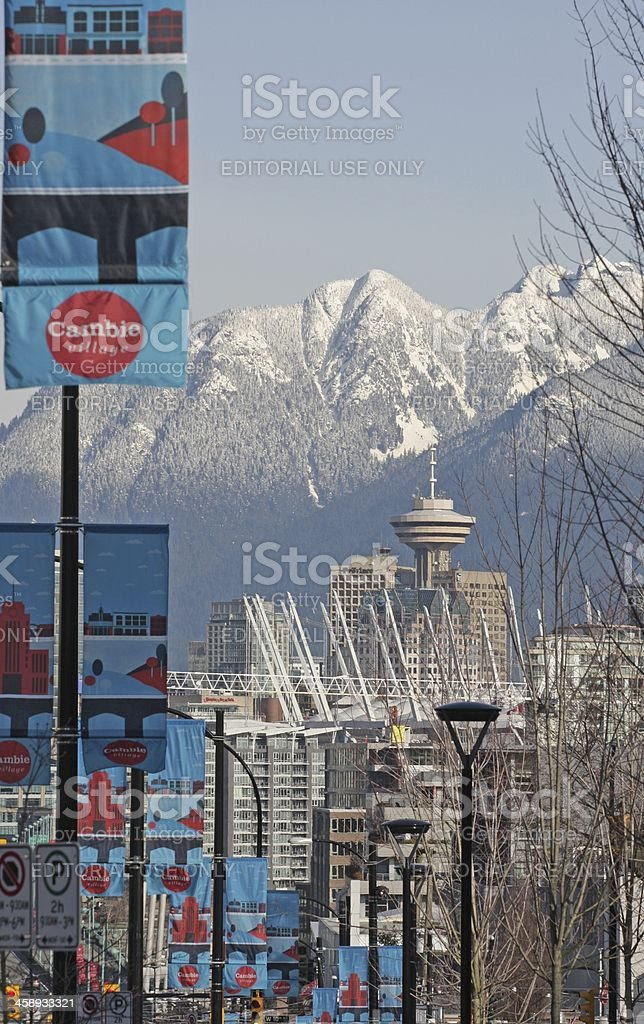 Vancouver's Cambie Village, Downtown and North Shore Mountains stock photo