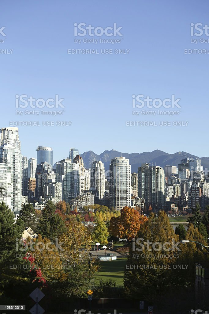 Vancouver's City Center and Autumn Foliage Under Blue Skies royalty-free stock photo