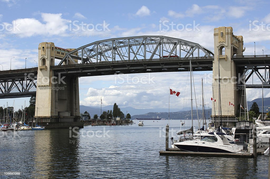 Vancouver's False Creek and Burrard Bridge stock photo