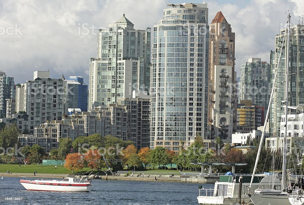 Vancouver's False Creek and Yaletown Neighbourhood in Autumn royalty-free stock photo