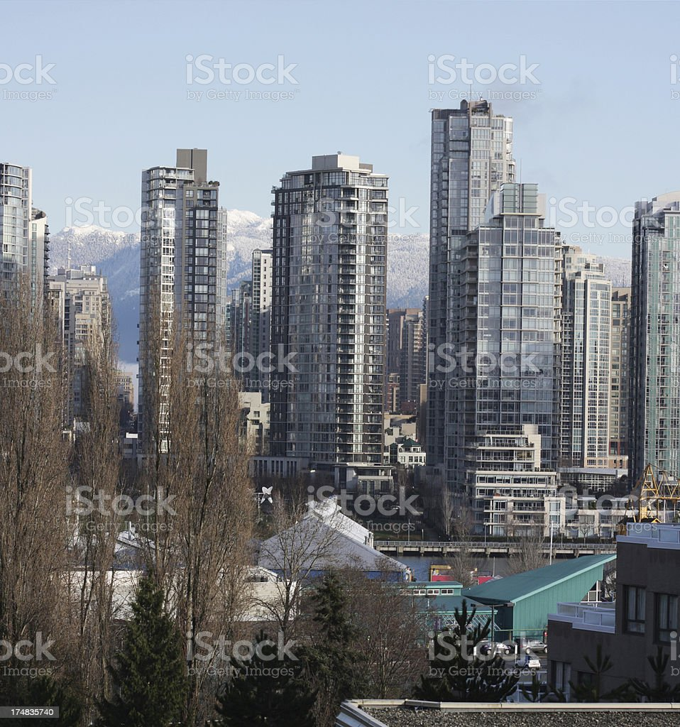 Vancouver's High-Rises in Yaletown Neighbourhood, Winter Morning royalty-free stock photo