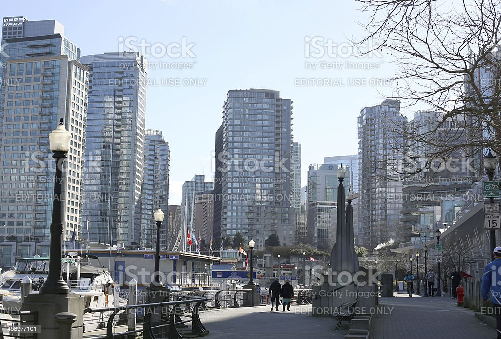 Vancouver's Seawall to Downtown and Coal Harbour, British Columbia, Canada royalty-free stock photo