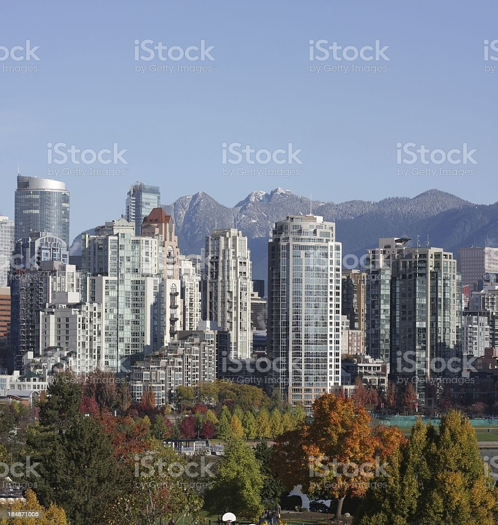 Vancouver's Yaletown Neighbourhood, Cityscape Panorama, Canada in Autumn royalty-free stock photo