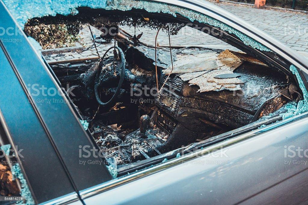 vandalism at a car stock photo