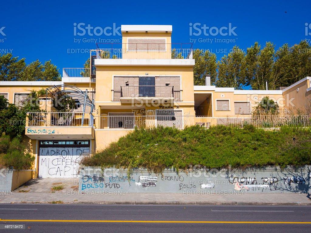 Vandalized house in Colonia del Sacramento, Uruguay stock photo