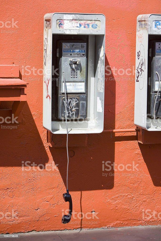 Vandalized Payphone stock photo