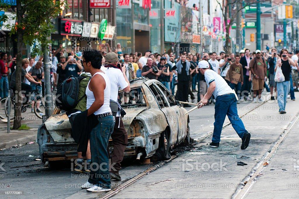 Vandalized Police Car stock photo