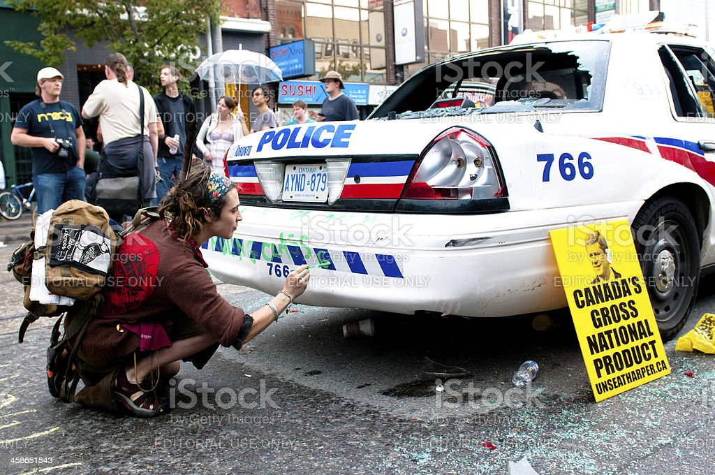 Vandalized Police Car royalty-free stock photo
