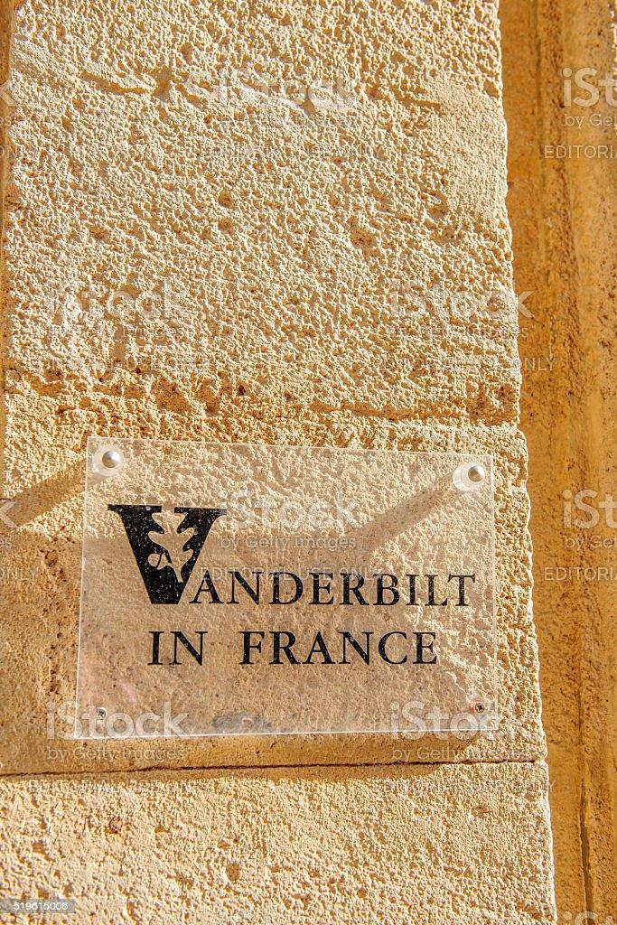 Vanderbilt in France University sign stock photo