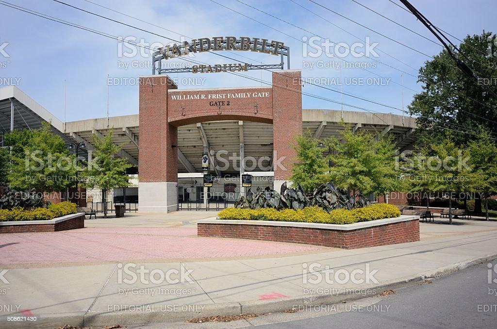 Vanderbilt Stadium Gate 2 entrance with sign. stock photo