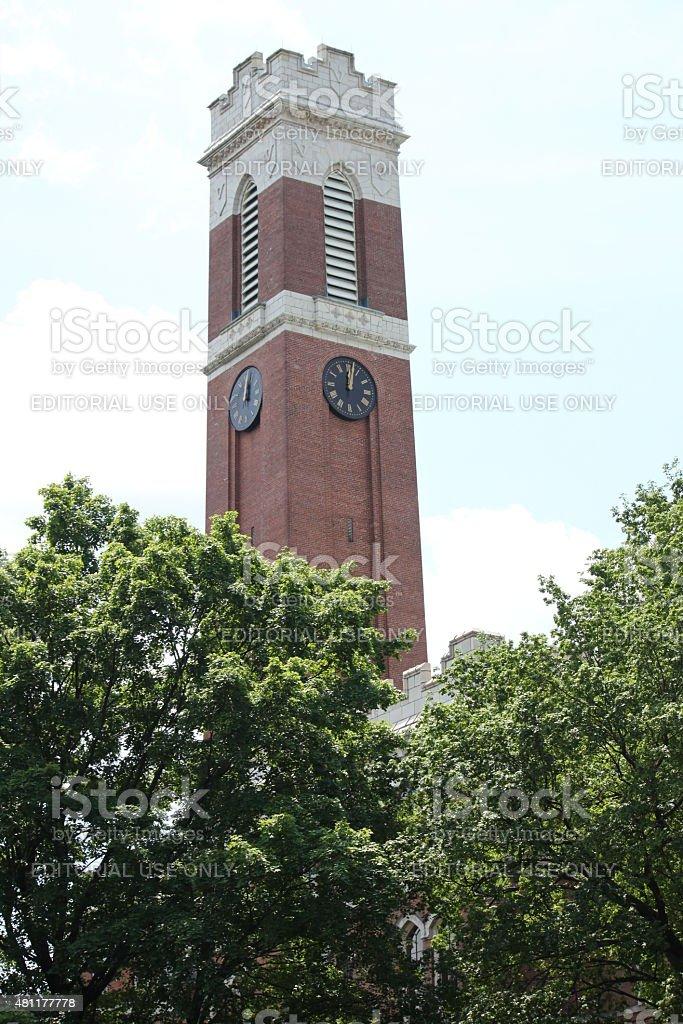 Vanderbilt University clock tower stock photo