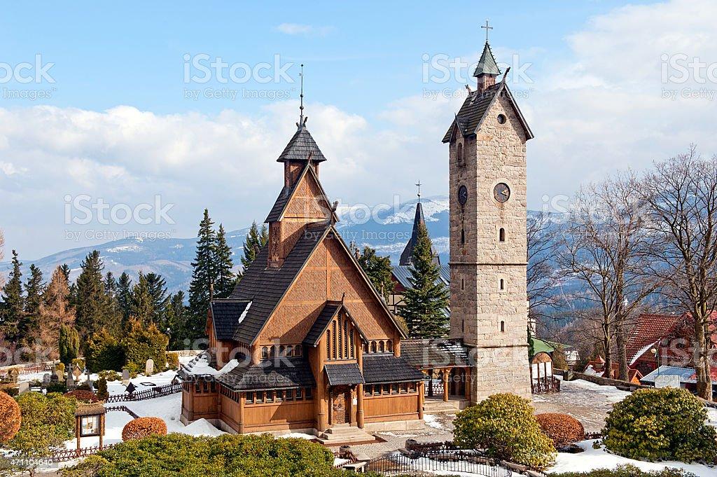 Vang (wang) stave church in Karpacz stock photo