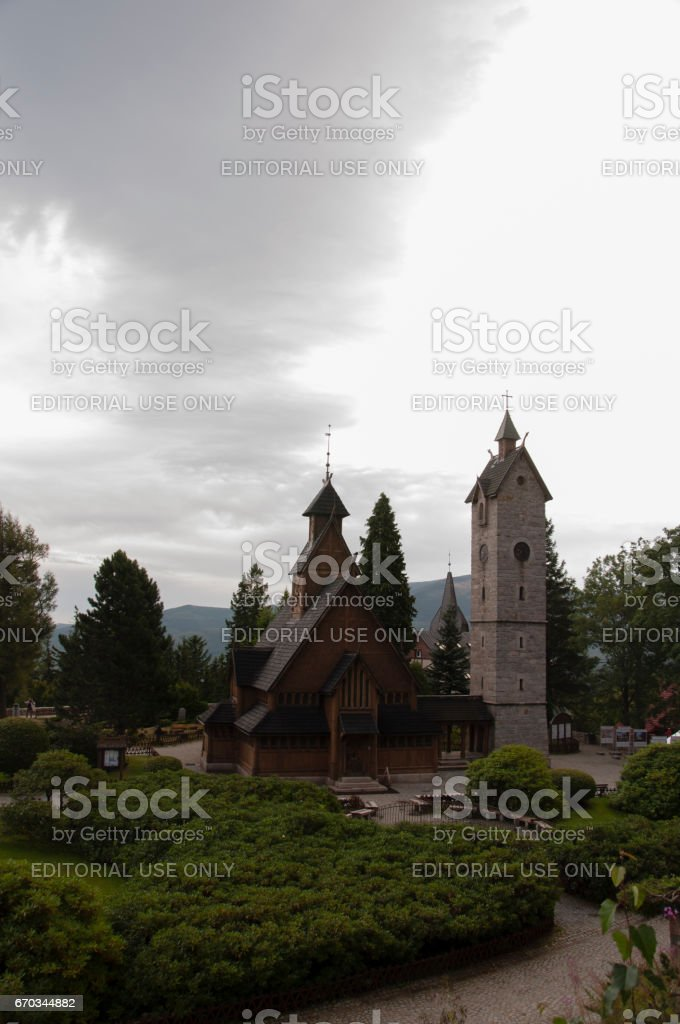 Vang stave church seen on a bleak day. stock photo