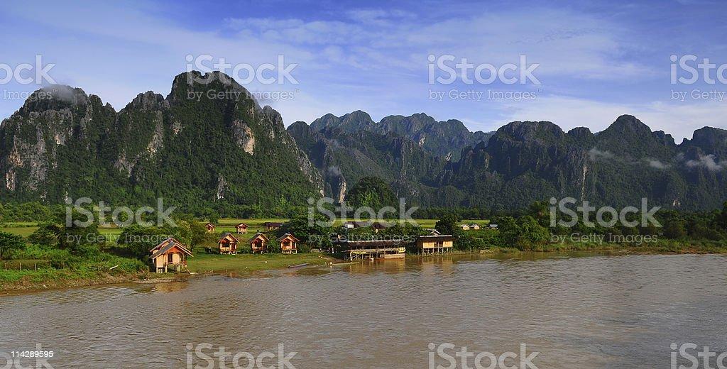 Vang Vieng Beautiful View stock photo