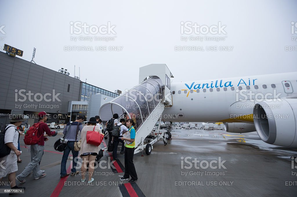 Vanilla Air Airbus A320 in Narita, Japan stock photo