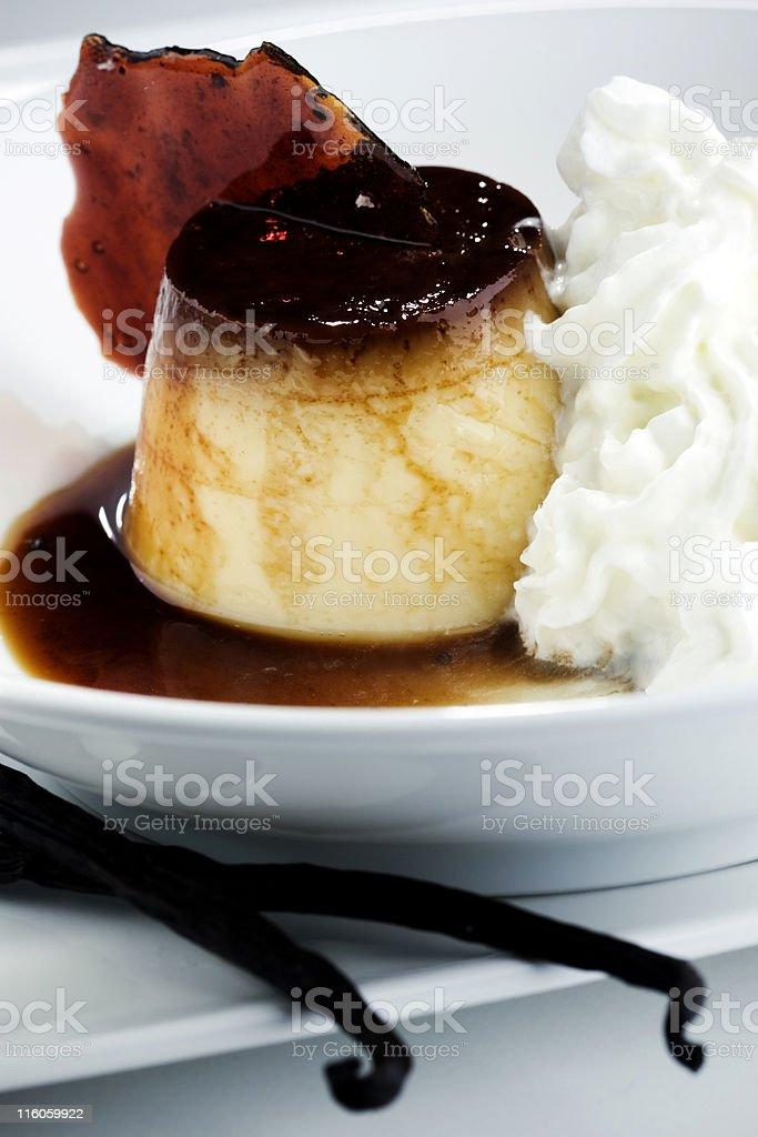 Vanilla and caramel dessert stock photo
