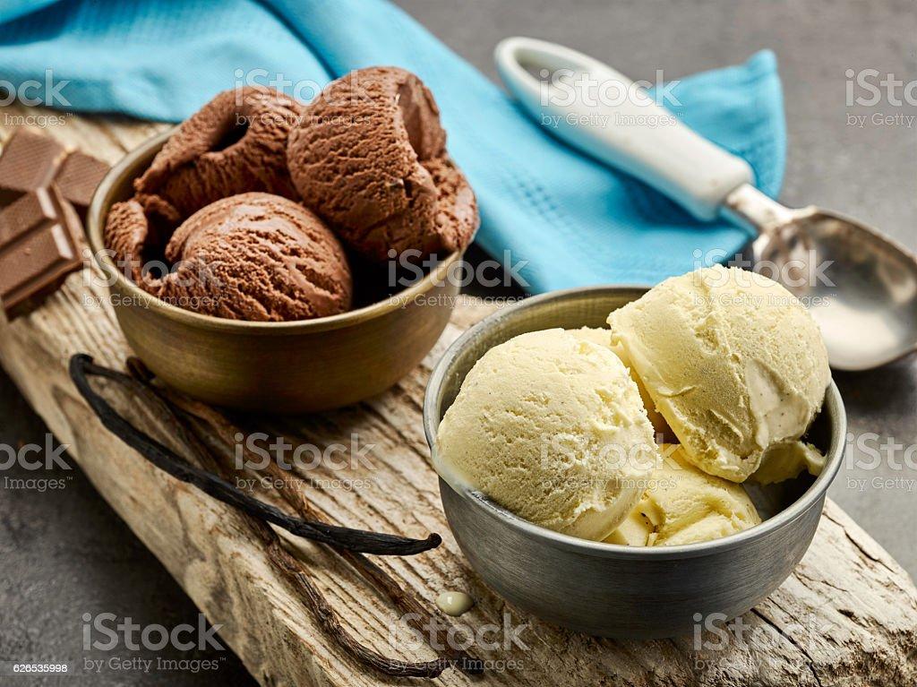 vanilla and chocolate ice cream stock photo