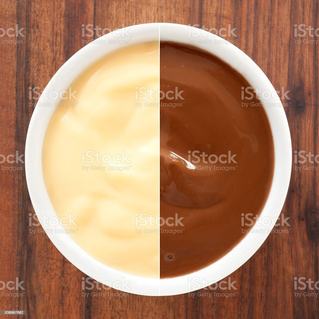 Vanilla and chocolate pudding composite stock photo