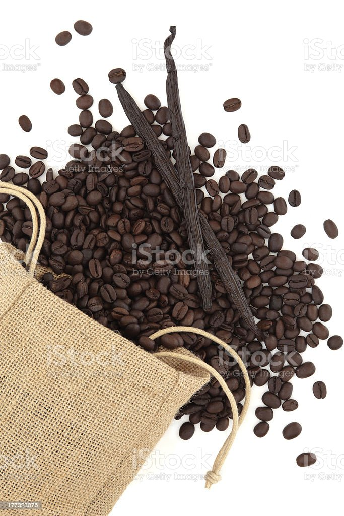 Vanilla and Coffee Beans royalty-free stock photo