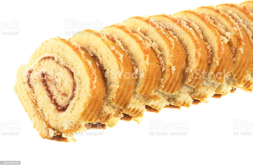 Vanilla and Jam roll slices stock photo