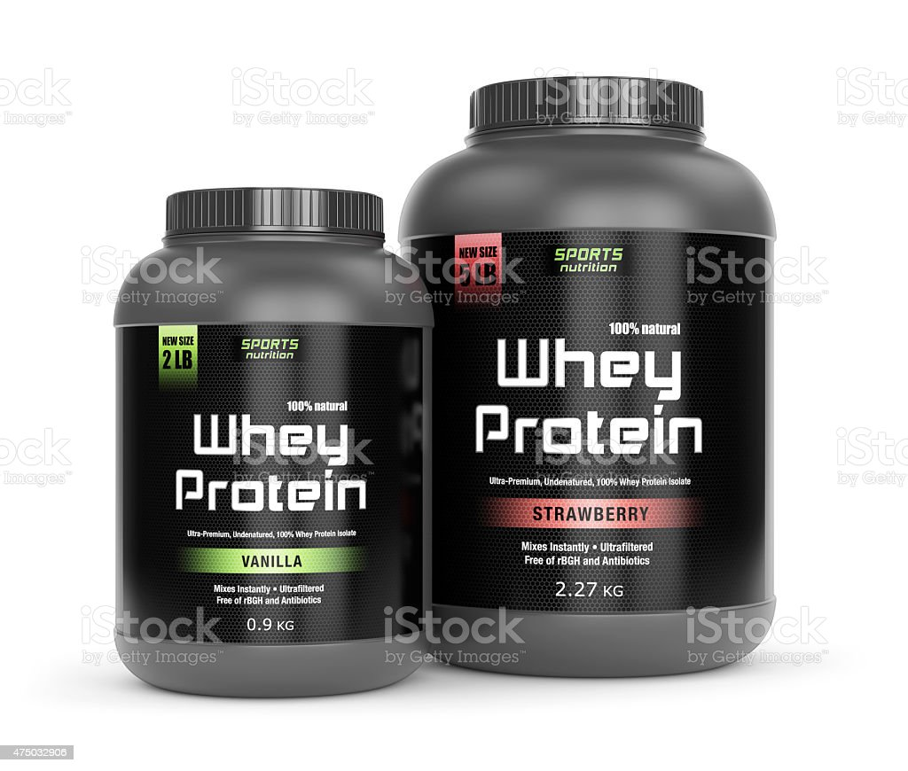 Vanilla and strawberry taste protein stock photo