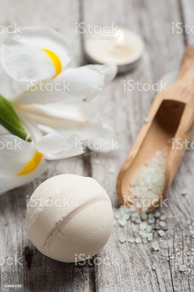 vanilla bath bomb closeup stock photo