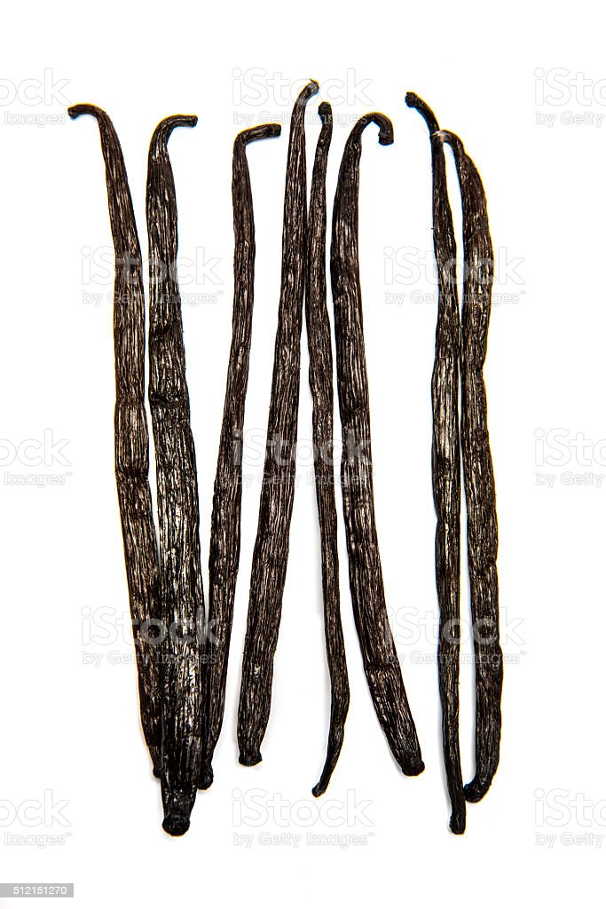 Vanilla beans on white background stock photo