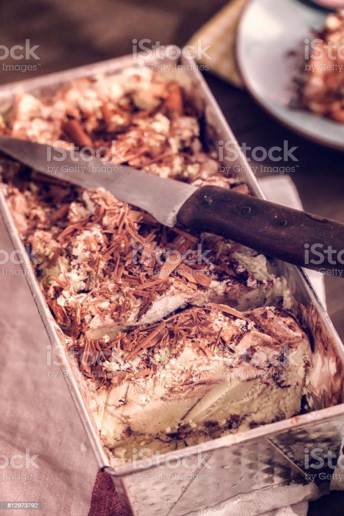 Vanilla, Chocolate and Pistachio Ice Cream stock photo