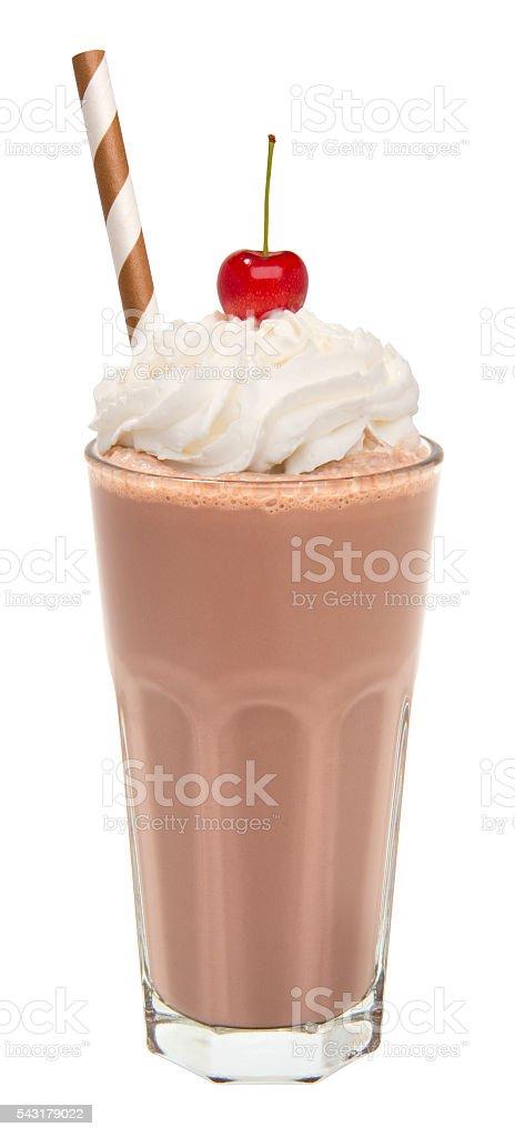 vanilla chocolate milkshake with whipped cream and cherry isolated stock photo