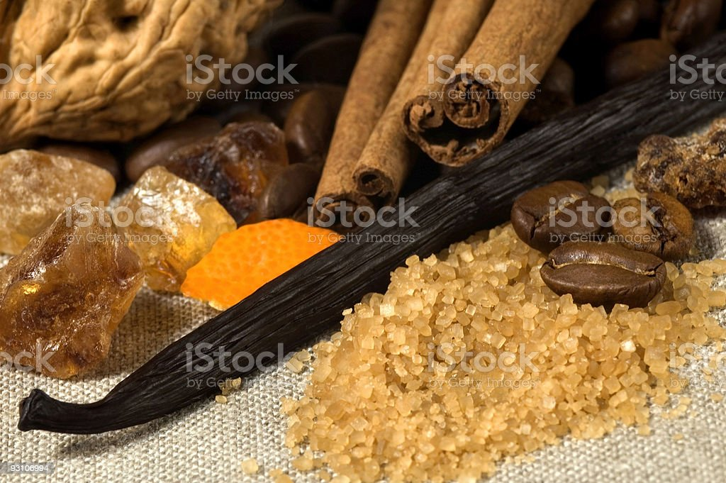 vanilla, cinnamon, coffe and other spices . Christmas ingredients royalty-free stock photo