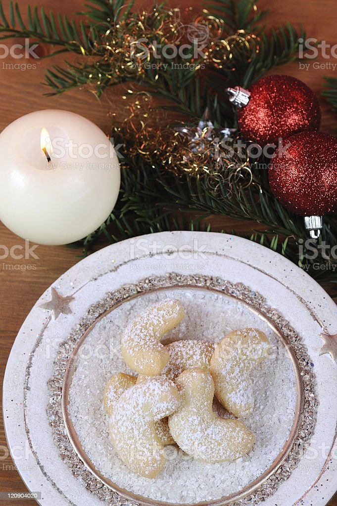 Vanilla Cornets Topview Christmas Set stock photo