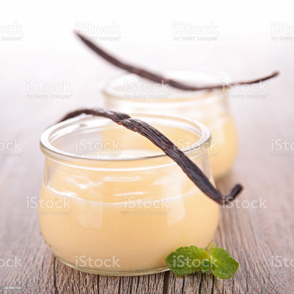 vanilla cream dessert stock photo