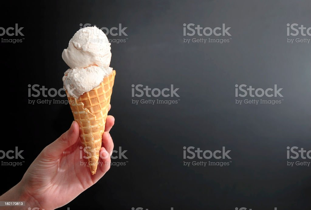 Vanilla Ice Cream Cone on Black with Space for Copy stock photo