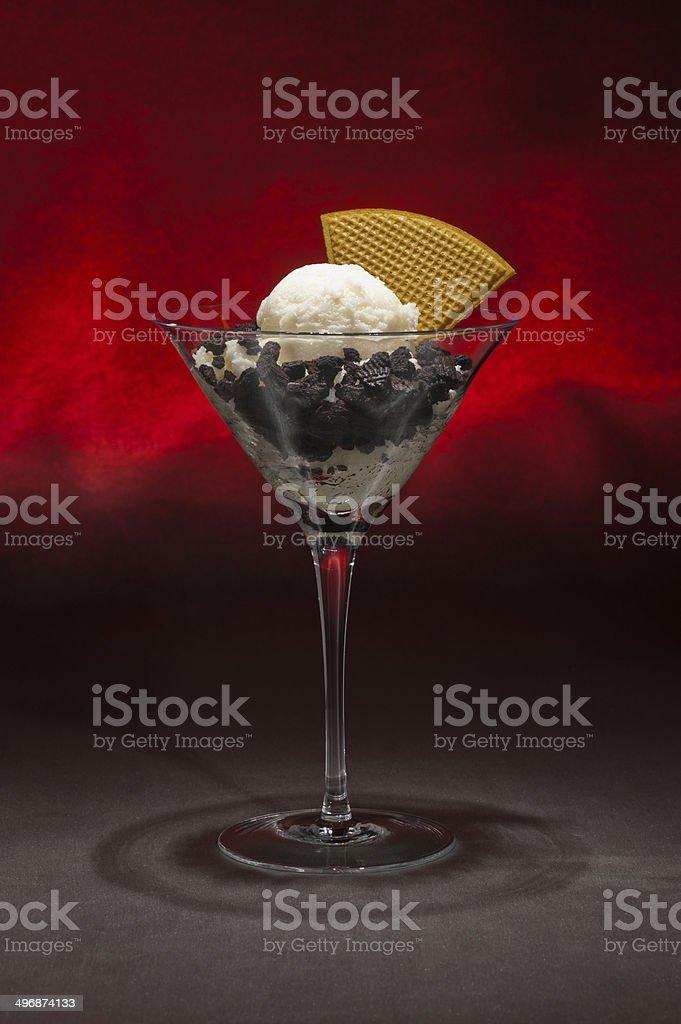 Vanilla ice cream in a Martini glass stock photo