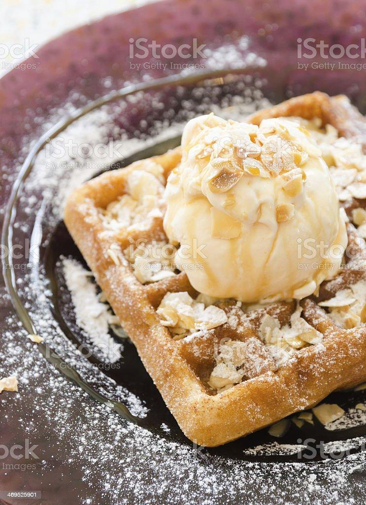 Vanilla Ice Cream Scoop On Waffle stock photo