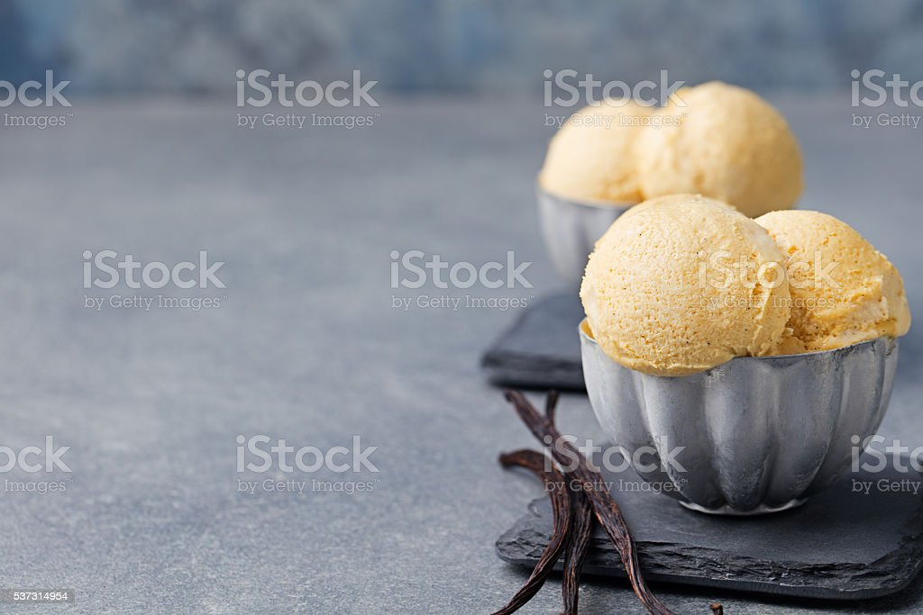 Vanilla Ice Cream with in metal vintage bowl Copy space stock photo
