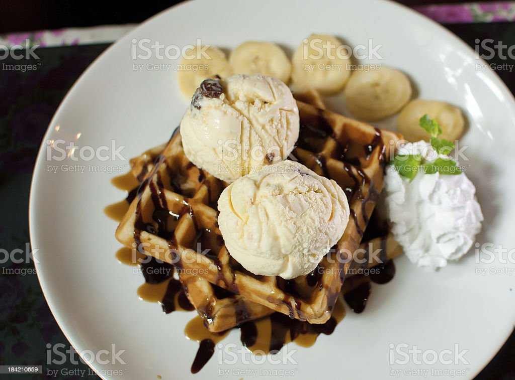 vanilla ice cream with waffle stock photo